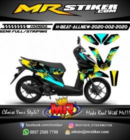 Stiker motor decal Honda Beat All New 2020 Fox Splater Neon Blue Ice