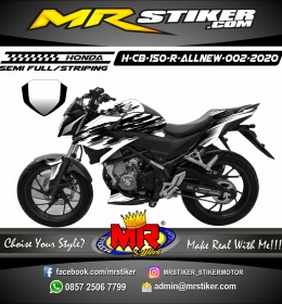 Stiker motor decal Honda CB 150 R All New Black White Splate Brush