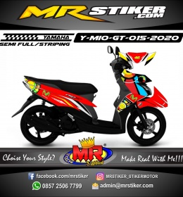 Stiker motor decal Yamaha Mio GT Red Movistar Race