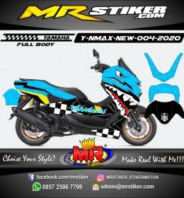 Stiker motor decal Yamaha NMAX New 2020 Sky Blue Shark The Race (FULLBODY)