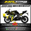 Stiker motor decal Yamaha R25 Strip Line Yellow Grafis Movistar