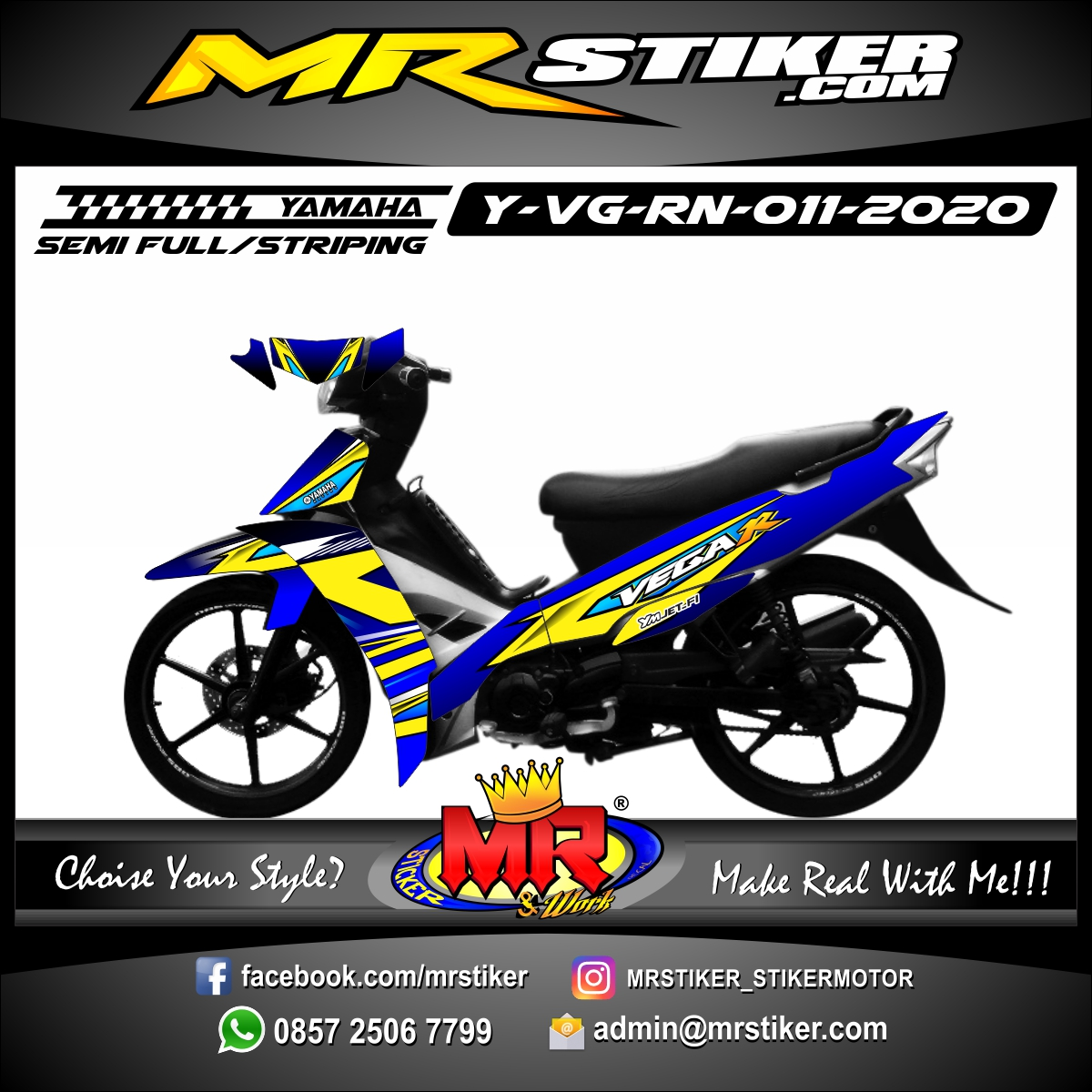 Stiker motor decal Yamaha Vega R New Blue Yellow Line Grafis Elegan