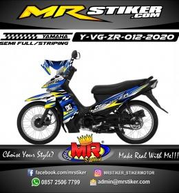 Stiker motor decal Yamaha Vega ZR Blue Race Flag Line Grafis