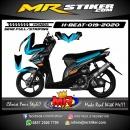 Stiker motor decal Honda Beat Blue Gradation Orange Strip