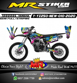 Stiker motor decal Yamaha YZ 250 F New Abstrack Noise Grafis ColorFul