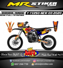 Stiker motor decal Yamaha YZ 250 F New RedBull Orange