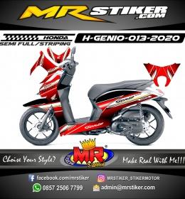 Stiker motor decal Honda Genio Dark Red Gradation Strip Grafis Gold