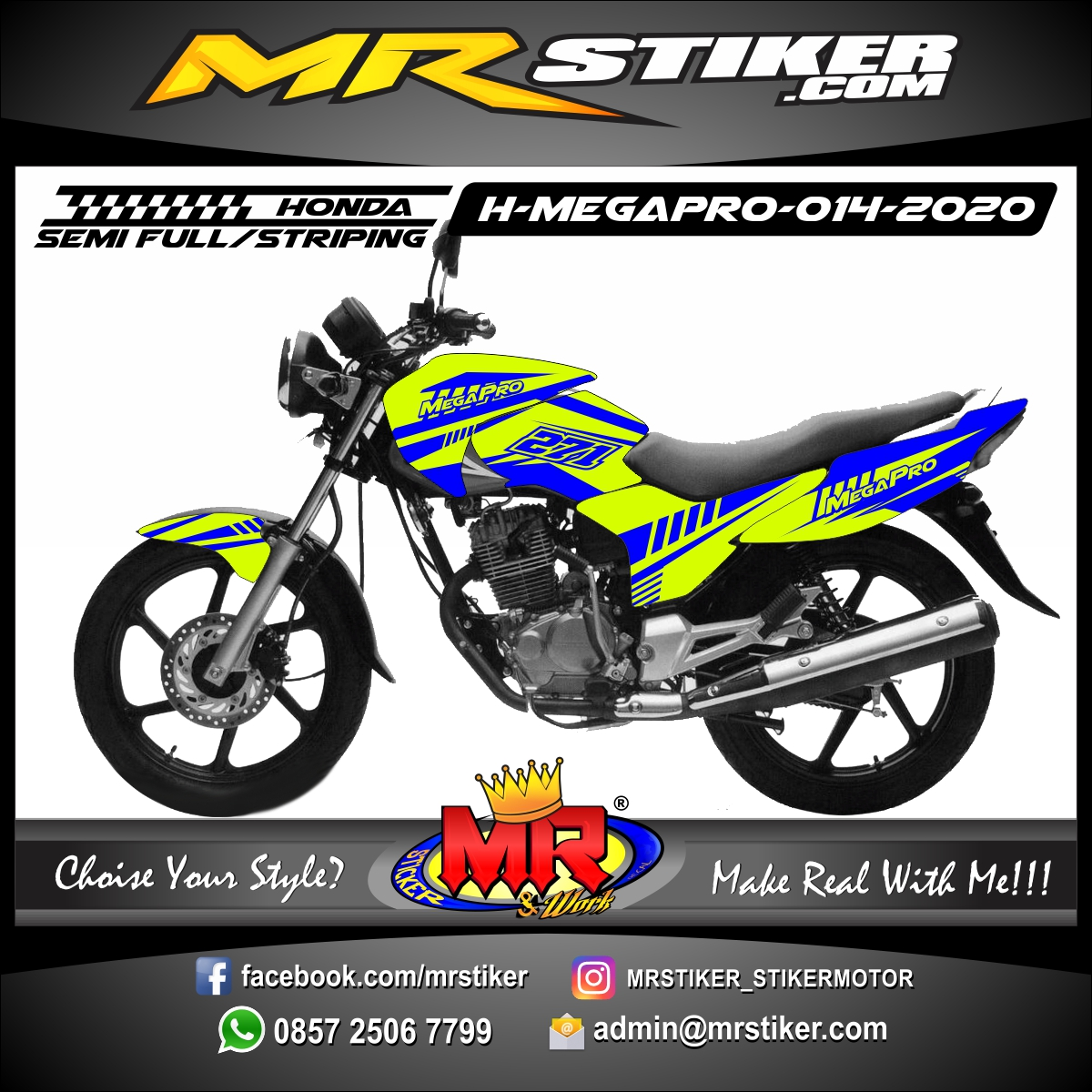 Stiker motor decal Honda Megapro Grafis Blue Color Stabillo