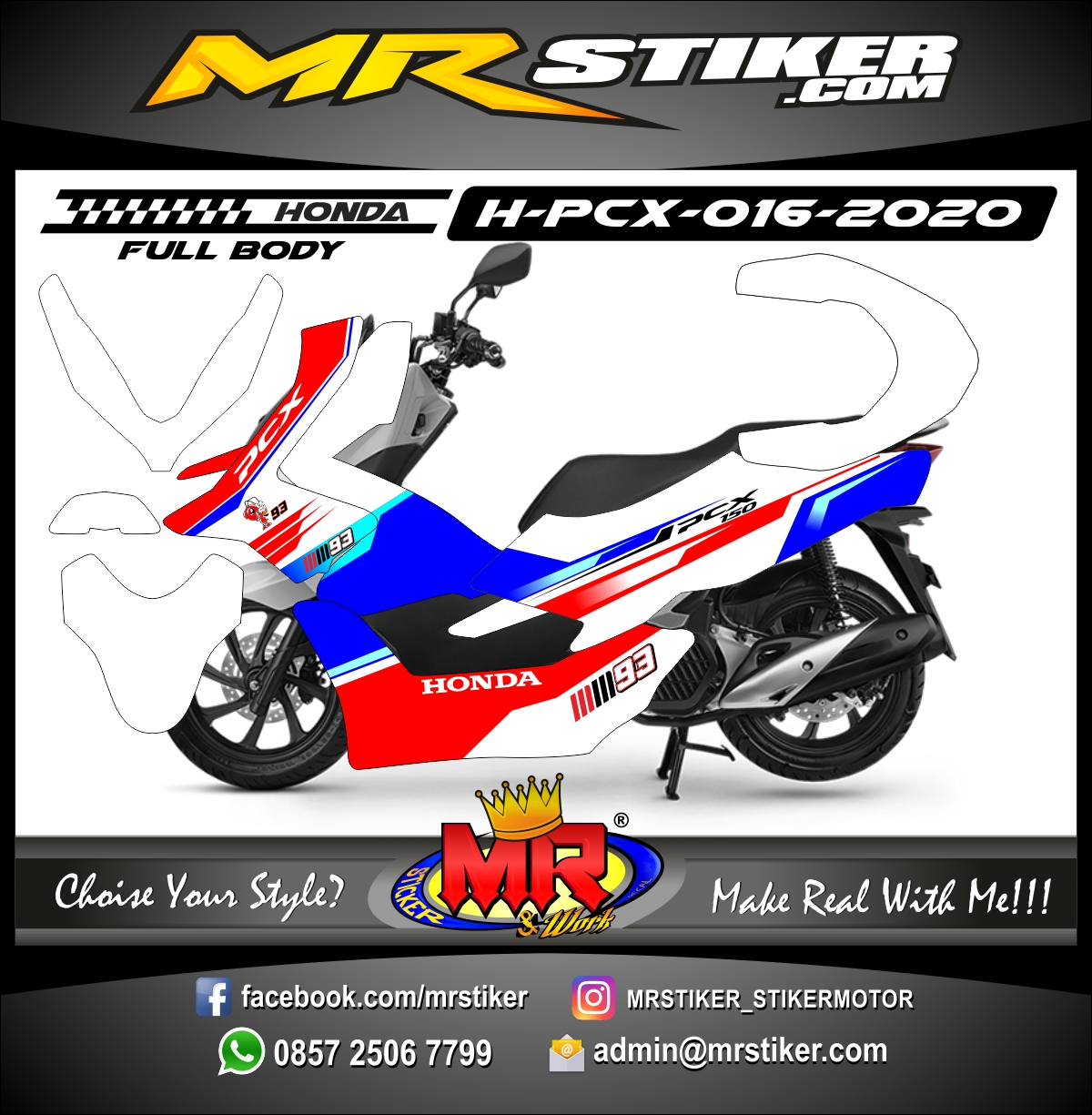 Stiker motor decal Honda PCX 150 Red Blue 93 Marc Marquez (FullBody)