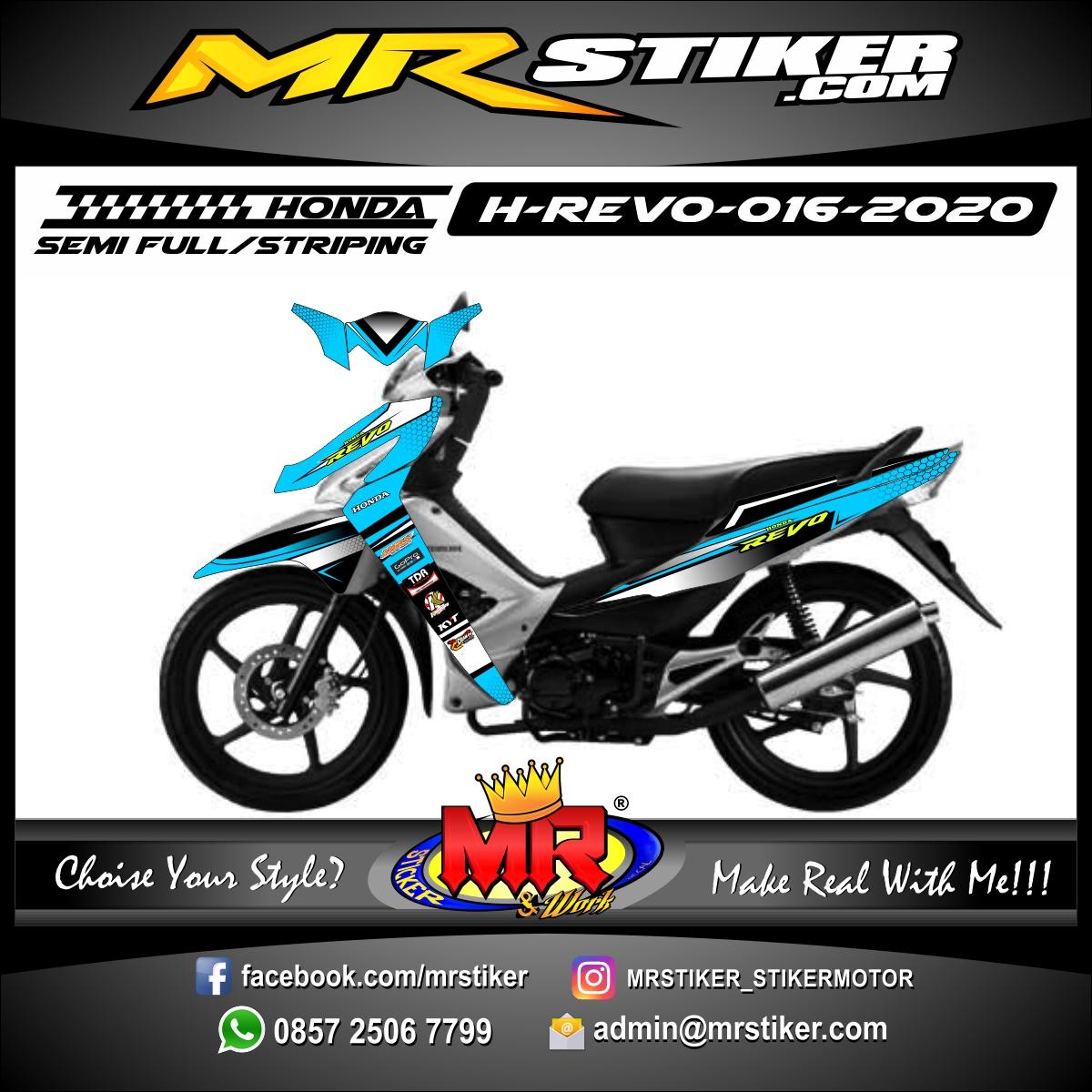 Stiker motor decal Honda Revo Blue Sky Hexagon Carbon