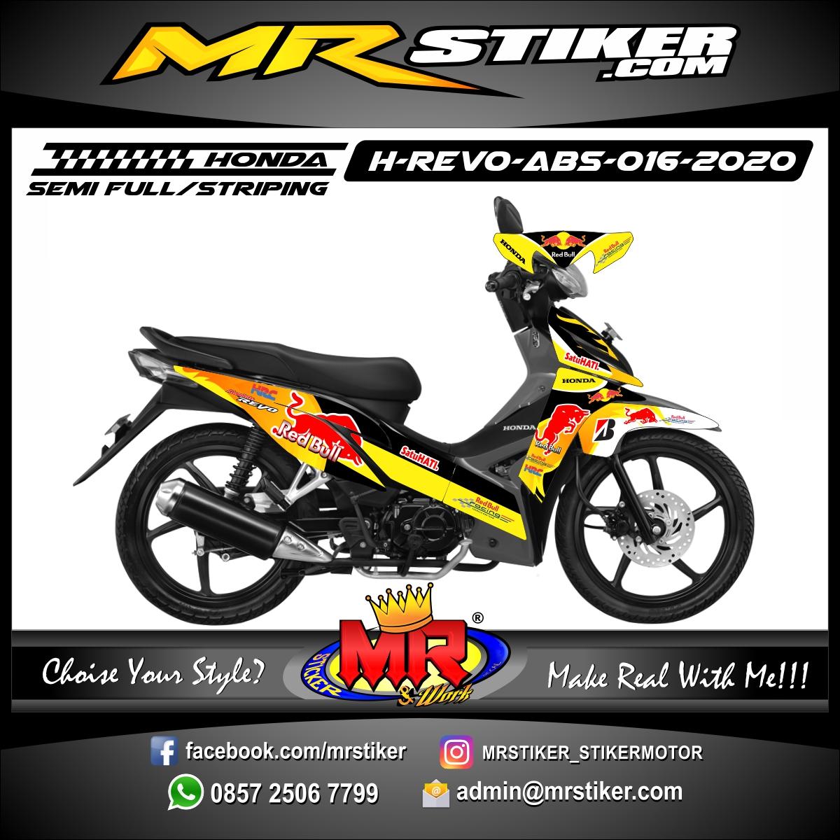 Stiker motor decal Honda Revo Absolute Yellow Orange RedBull