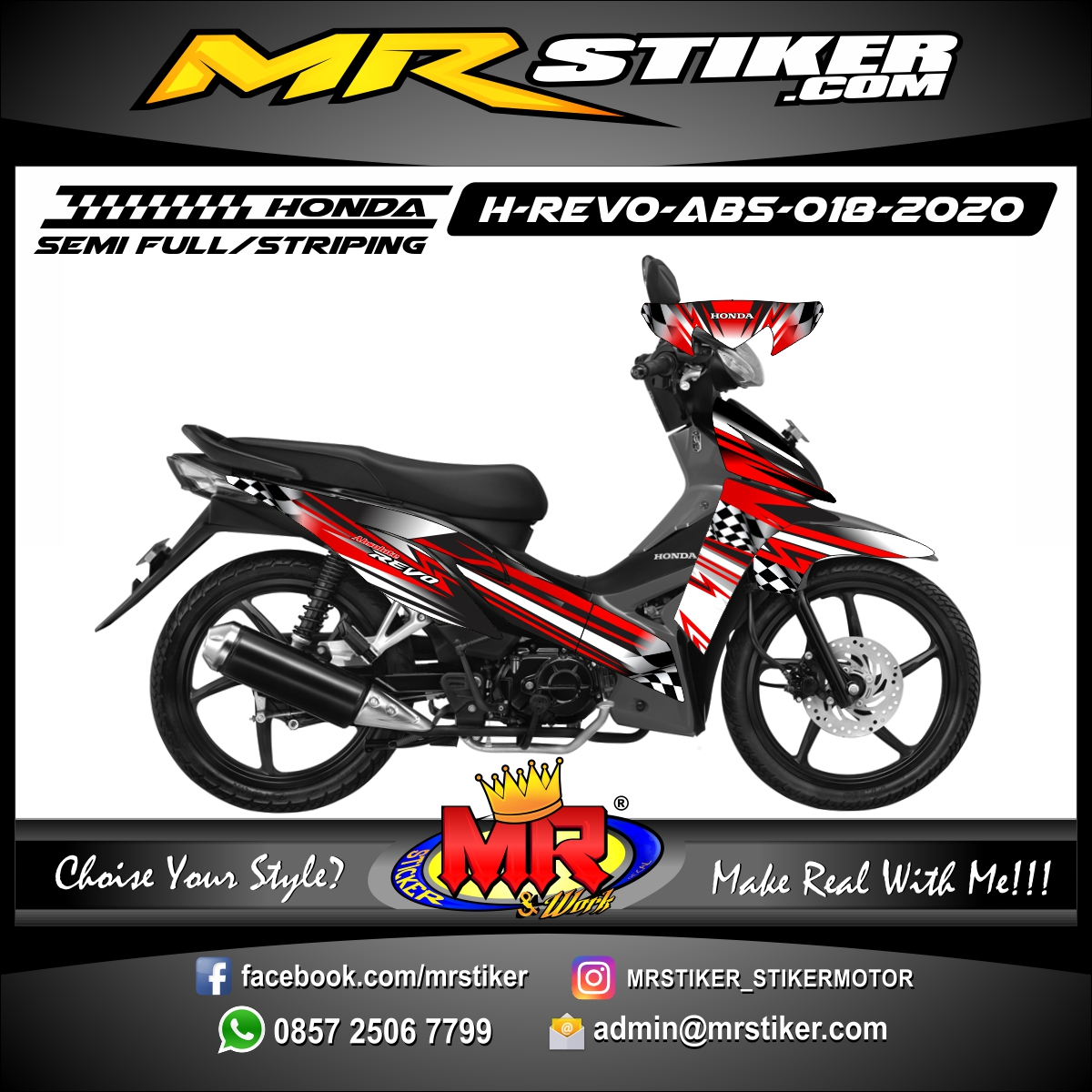 Stiker motor decal Honda Revo Absolute Red Grafis Flag Race