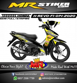 Stiker motor decal Honda Revo FI Yellow Gray Excel