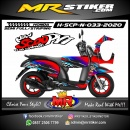 Stiker motor decal Honda Scoopy New Blue Splat Grafis Race Flag Airbrush