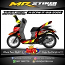 Stiker motor decal Honda Scoopy New 2017 Grafis The Race Line Red Yellow Color