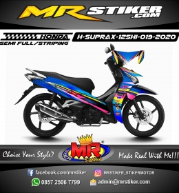 Stiker motor decal Honda Supra X 125 HI Blue Carbon Hexagon Grafis Colorful