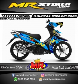 Stiker motor decal Honda Supra X 125 HI Mov Blue Grafis Yellow