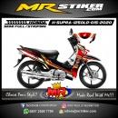 Stiker motor decal Honda Supra X 125 Old Dark Red Golden Glory