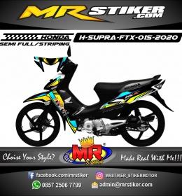 Stiker motor decal Honda Supra Fit X Grafis Tech Yellow Blue Combine Color