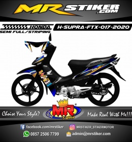 Stiker motor decal Honda Supra Fit X Dark Blue Golden Grafis Carbon