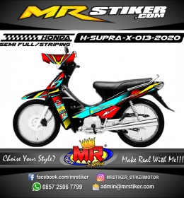 Stiker motor decal Honda Supra X Red Blue Ice Grafis Race