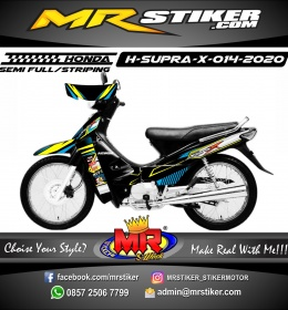 Stiker motor decal Honda Supra X Yellow Line Silver Racing