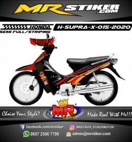 Stiker motor decal Honda Supra X Dark Red Golden