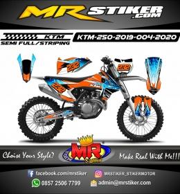 Stiker motor decal KTM 250 2019 Orange Blue Flame Effect