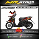 Stiker motor decal Honda Vario CBS DarkRed Grafis Yellow Line Street Race