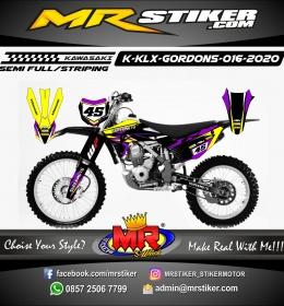 Stiker motor decal Kawasaki KLX GORDONS Purple Yellow Supermoto