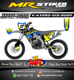 Stiker motor decal Kawasaki KX 250 Yellow Blue Grafis Strip Variasi