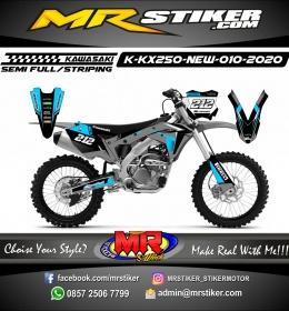 Stiker motor decal Kawasaki KX 250 New Sky Blue Track Strip Modify