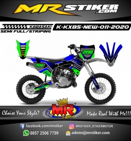 Stiker motor decal Kawasaki KX 85 New DarkBlue Green Line Race