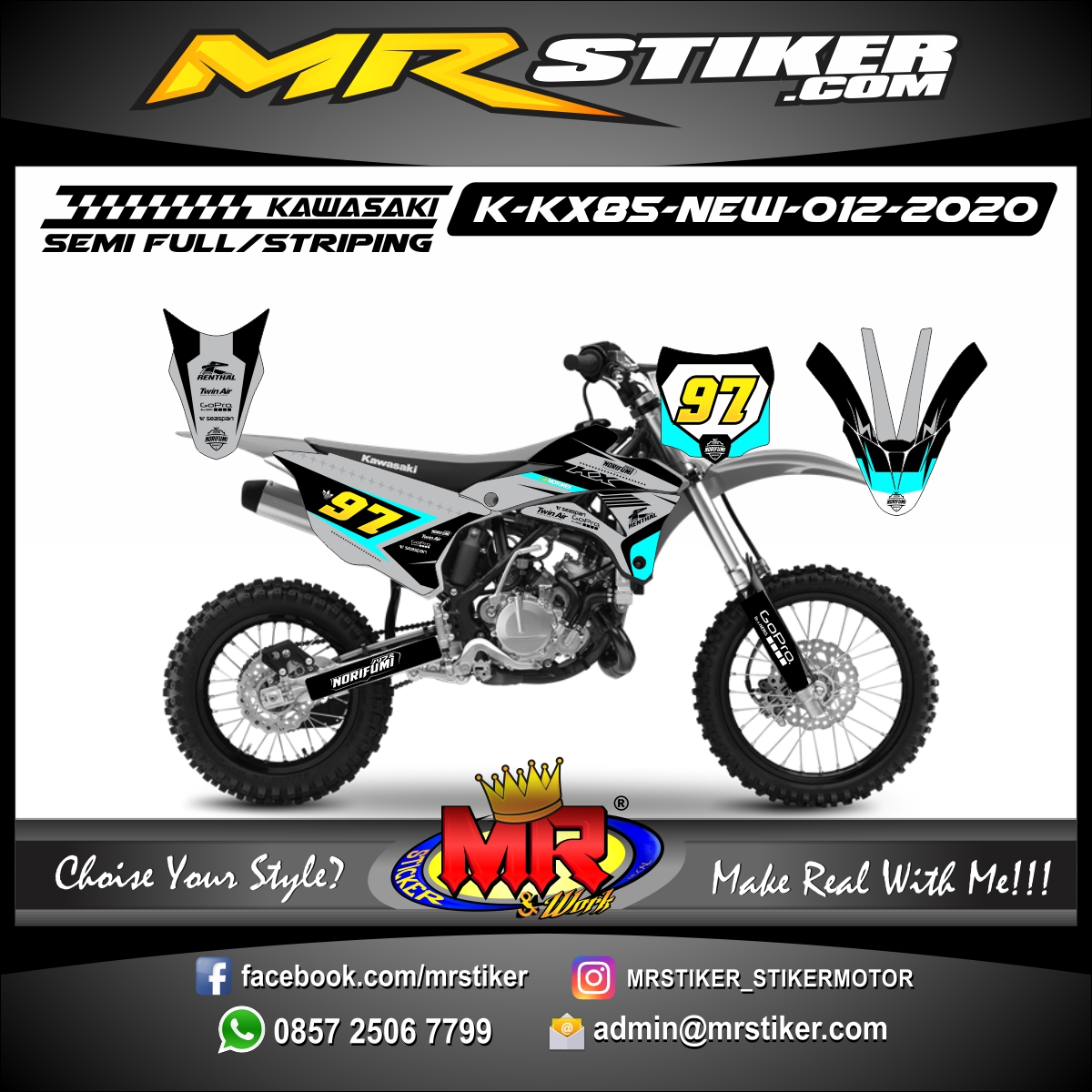 Stiker motor decal Kawasaki KX 85 New Gray Color Race Line Neon Blue