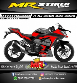 Stiker motor decal Kawasaki Ninja 250 New Black Red Grafis Tech