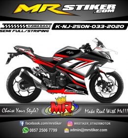Stiker motor decal Kawasaki Ninja 250 New Red White Grafis Line Elegan