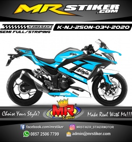 Stiker motor decal Kawasaki Ninja 250 New Sky Blue Cool Grafis White