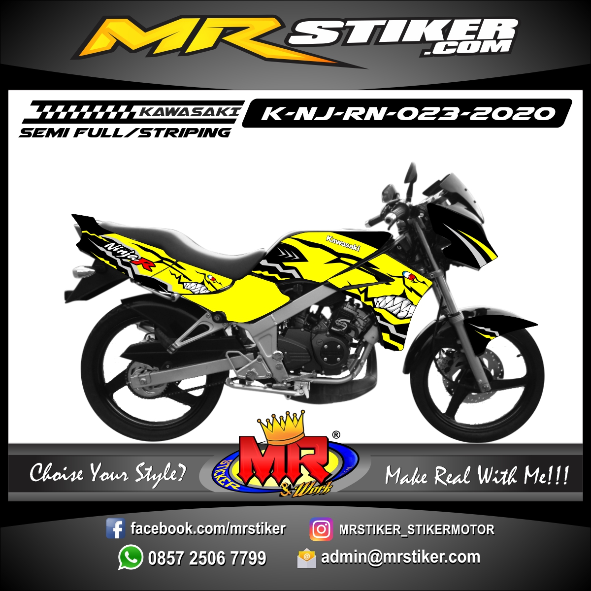 Stiker motor decal Kawasaki Ninja R New Yellow Shark