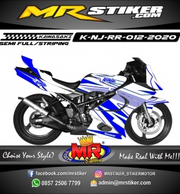 Stiker motor decal Kawasaki Ninja RR White Blue Grafis Racing Split Line