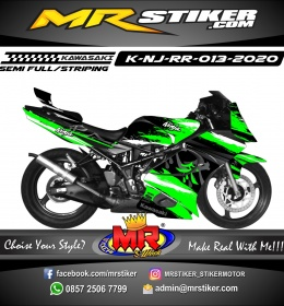 Stiker motor decal Kawasaki Ninja RR Green Splat Japan Font