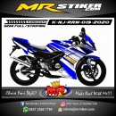 Stiker motor decal Kawasaki Ninja RR New White Blue Line Gold Strip