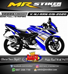 Stiker motor decal Kawasaki Ninja RR New White Blue Line Gold Strip