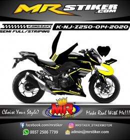 Stiker motor decal Kawasaki Ninja Z 250 Black Yellow Strip Line Grafis