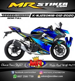 Stiker motor decal Kawasaki Ninja 250 AllNew 2018 Blue Grafis Yellow line Star