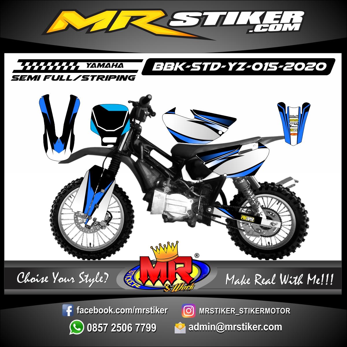 Stiker motor decal Yamaha Bebek Standar YZ Grafis Blue Track Race