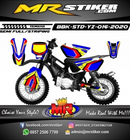 Stiker motor decal Yamaha Bebek Standar YZ Blue Yellow Grafis Red Line