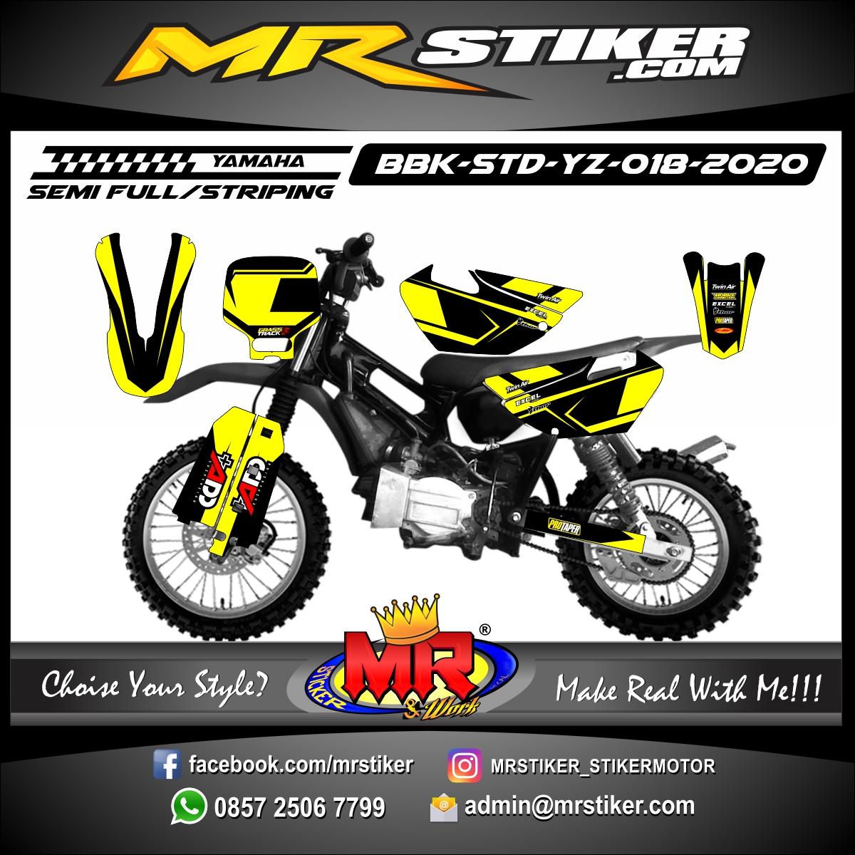 Stiker motor decal Yamaha Bebek Standar YZ Yellow Street Line