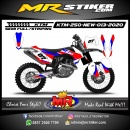 Stiker motor decal KTM 250 New White Grafis Red Blue Cool