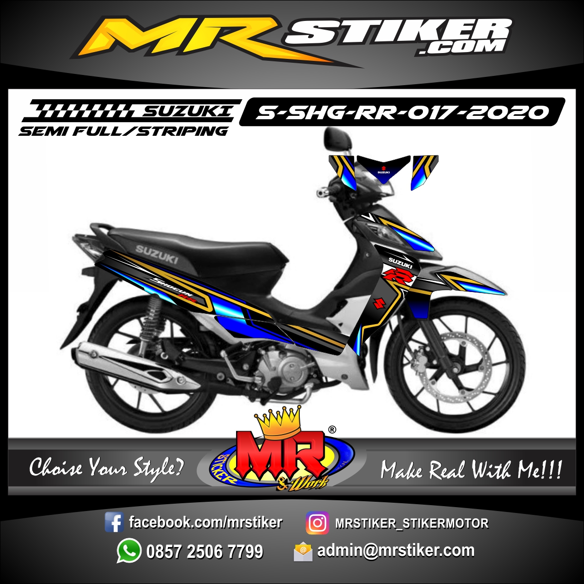 Stiker motor decal Suzuki Shogun RR Blue Gold Line Strip Grafis Cool
