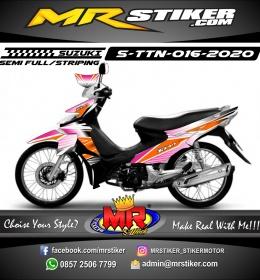 Stiker motor decal Suzuki Titan Grafis Transparancy Pink Line